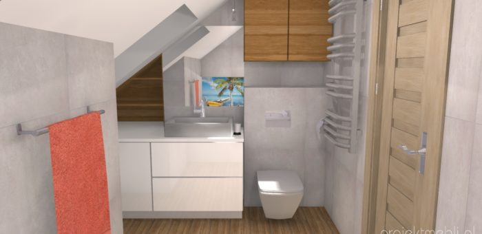 Łazienka na poddaszu LAKIER